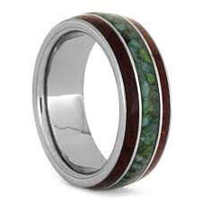 wood mens wedding bands chrysocolla ring with bubinga wood inlays tungsten wedding band