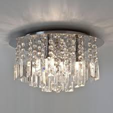 Glass Droplet Chandelier Modern Bathroom Crystal Ceiling Light Double Insulated Ip44 Dimmable