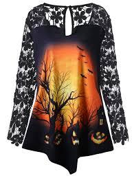 t shirts halloween t shirts black 5xl halloween plus size lace insert pumpkin tunic