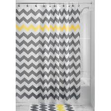 Gray And Yellow Chevron Shower Curtain by Grey Yellow White Chevron Zig Zag Stripe 72 Inch Shower Curtain