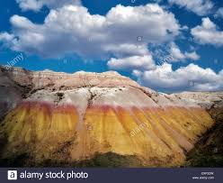 Bad Lands Yellow Mounds With Clouds Badlands National Park South Dakota