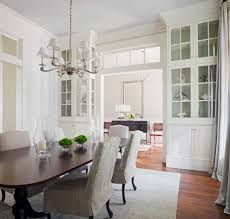 built in hutch dining room traditional with chandelier wooden