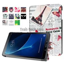 color painting 3 folding stand pu leather case for samsung galaxy