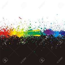 illustration of line color paint splashes on black background