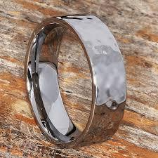 Mens Wedding Ring Metals by Hammer Flat Wedding Band 7mm Width Comfort Fit Tungsten Wedding Band