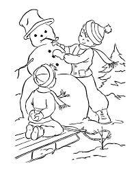boy making snowman winter coloring