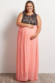 Light Pink Dress Plus Size Coral Pleated Chiffon Lace Top Plus Size Maxi Dress