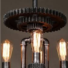 loft style water pipe creative mechanical gear edison pendant