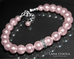 pink pearl bracelet images Pink pearl wedding bracelet swarovski rosaline blush pink pearl jpg