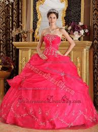 quinceanera dresses coral coral strapless quinceanera dress with appliques and ups