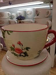 decorative ceramic teacup planter floral cottage design large in