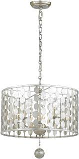 Drum Pendant Light Crystorama 545 Sa Layla Contemporary Antique Silver Drum Pendant