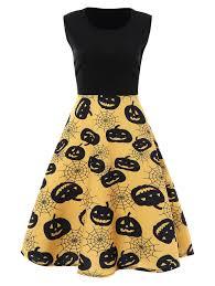 plus size halloween pumpkin vintage sleeveless dress in yellow 2xl