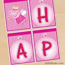 free printable princess peppa pig birthday banner