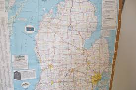 Windsor Usa Map by Vintage Michigan Map Michigan State Map Usa Map Route Travel