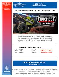 monster truck show tickets prices budweiser events center loveland co group sales