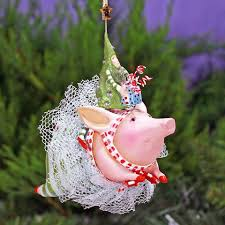 patience brewster joyful flying pig ornament