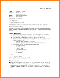 Job Resume Outline by 6 Job Resume Outline Appraisal Letter