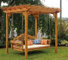 impressive twin wooden pergola swing design with two post arbors