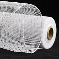 white deco mesh white with silver poly deco mesh ribbon 10 yard roll