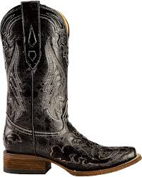 menu0027s black python snake design leather cowboy boots square