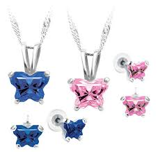 Necklace With Children S Birthstones Petite Sterling Silver Butterfly Birthstone Necklace U0026 Earring Set