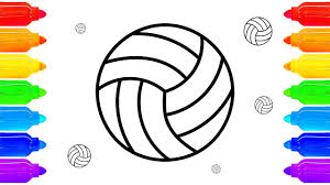 reverse coloring pages sport how to draw ball for volleyball art