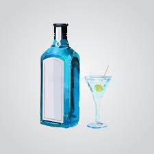 Excepcional Gim Seca Tradicional Na Garrafa Azul Gim De Vidro Com Azeitona  &FA66