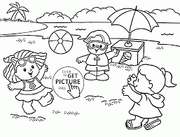 funny kids on a summer beach coloring page for kids seasons