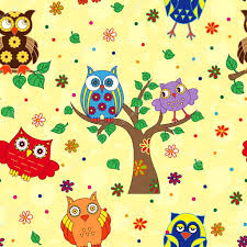 colourful owl and tree seamless pattern yellow stock vector