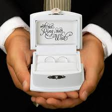 wedding ring in a box with this ring wedding ring bearer box
