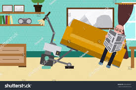 domestic robot cleaning room carpet while stock vector 664286641