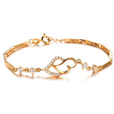 gold bracelet with love heart images Fashion jewelry 18k gold plated accessories austria crystal heart jpg