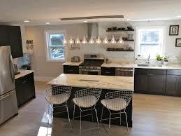open shelving in the kitchen white wooden countertop dark brown