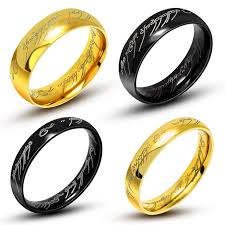 the one ring wedding band one ring of power gold black the lord of rings 316l titanium