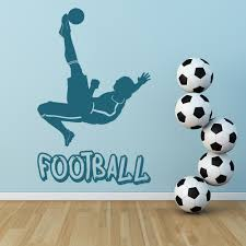 football logo player and ball football wall stickers sports decor
