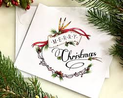 Decoration Of Christmas Cards by Merry Christmas Card Etsy