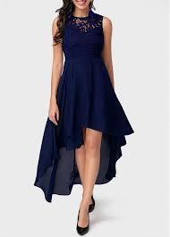 lace panel high low navy blue dress liligal com usd 38 21