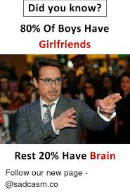Did You Know Meme - did you know 80 of boys have girlfriends rest 20 have brain