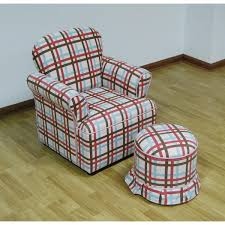 Plaid Ottoman Rolled Arm Chair With Ottoman Plaid Free Shipping Today