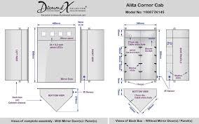 alita corner cabinet mirror with shaver socket and sensor k145