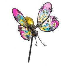 metal glass butterfly stake pink yellow by fountasia other