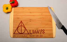 Harry Potter Home Decor by Harry Potter Always Deathly Hallows Custom Engraved Cutting Board