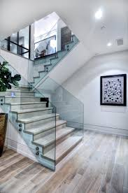 awesome brown wood glass unique design wall paint stairs home