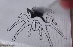 gets a fright after encountering detailed 3d drawing of a