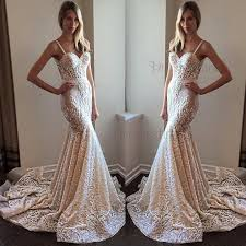 spaghetti wedding dress spaghetti straps mermaid lace court wedding dress