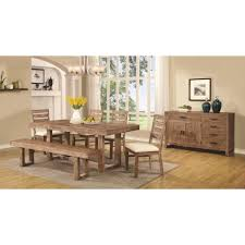 coaster elmwood 7pc rustic table and chair set w dining bench for