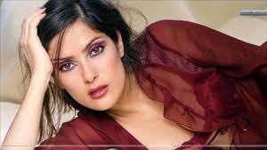 salma hayek u2013 pink lips in brown transparent dress wallpaper