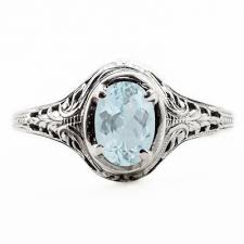 oval cut aquamarine art nouveau style sterling silver ring