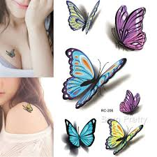 1 39 1 sheet 3d butterfly tattoo decals body art decal flying